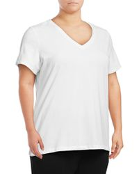 Lord & Taylor - Stretch Cotton V-neck Tee - Lyst