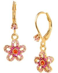 Betsey Johnson - Crystal Flower Drop Earrings - Lyst