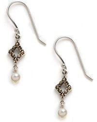 Lord & Taylor - Sterling Silver And Marcasite Drop Earrings - Lyst
