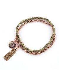 BCBGeneration - Double Beaded Bracelet In Rose Goldtone - Lyst