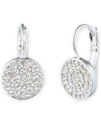 Anne Klein - Silver-tone Crystallized Drop Earrings - Lyst