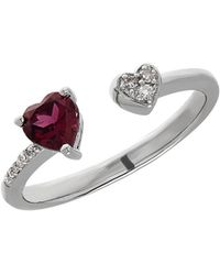 Lord & Taylor - Garnet, Sterling Silver And Diamond Heart Open Ring - Lyst