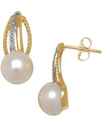 Lord & Taylor - 8mm White Pearl, Diamond And 14k Yellow Gold Drop Earrings - Lyst