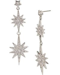 Betsey Johnson - Pave Star Double Drop Earrings - Lyst
