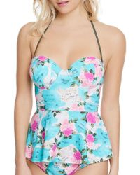 Betsey Johnson - Floral Underwire Push-up Tankini - Lyst