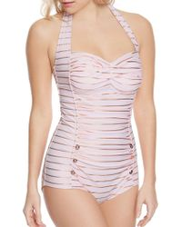 Betsey Johnson - Shimmer Stripes One-piece Swimsuit - Lyst