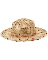 Dorfman Pacific - Thread Embellished Raffia Sun Hat - Lyst
