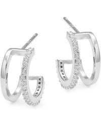 Tai - Stone-accented Sterling Silver Huggie Hoop Earrings - Lyst