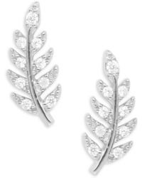 Tai - Pave Leaf Stud Earrings - Lyst