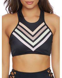 Reef - Chevron Striped Racerback Bikini Top - Lyst