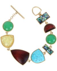 Kenneth Cole - Rough Luxe Geometric Mixed Semi-precious Turquoise Stone Toggle Bracelet - Lyst