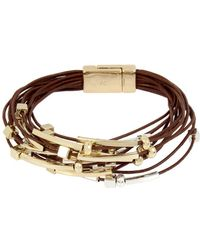 Kenneth Cole - Mixed Beaded Multi Row Leather Bracelet - Lyst