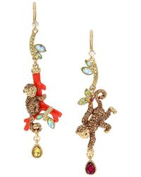 Betsey Johnson - Tropical Punch Glass Stone Monkey Mismatch Earrings - Lyst