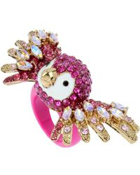 Betsey Johnson - Tropical Punch Pave Crystals Parrot Ring - Lyst