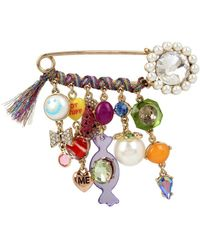 Betsey Johnson - Safety Pin Faux Pearl & Multiple-charm Brooch - Lyst
