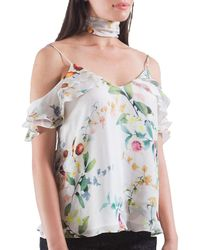 The Vanity Room - Floral Ruffled Silk Camisole - Lyst