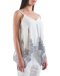 The Vanity Room - Embroidered Sauze Tank Top - Lyst