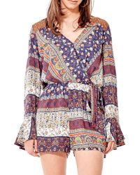 California MoonRise - Poet Sleeve Printed Romper - Lyst
