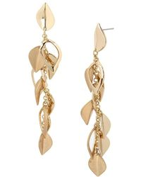 Kenneth Cole - Leaf & Chain Drop Earrings - Lyst