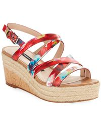 French Connection - Liya Leather Wedge Sandals - Lyst