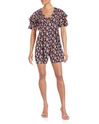 Betsey Johnson - Floral Ruffle Romper - Lyst