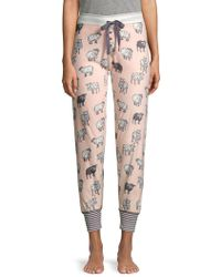 Pj Salvage - Sheep-print Velour Pyjama Trousers - Lyst