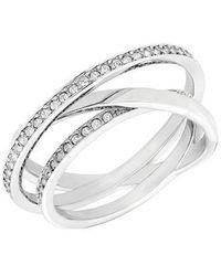 Swarovski - Spiral Silvertone And Crystal Ring - Lyst