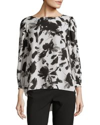 Isaac Mizrahi New York - Bateau Neck Blouson-sleeve Hi-lo Top - Lyst