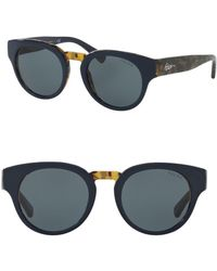 Ralph Lauren - 50mm Round Sunglasses - Lyst