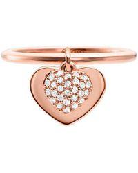 Michael Kors - Kors Love 14k Rose-goldplated & Crystal Heart Charm Band Ring - Lyst