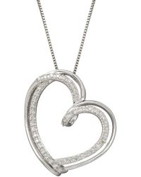 Lord & Taylor - Sterling Silver Diamond Heart Pendant Necklace - Lyst