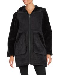Gallery - Hooded Faux Sherling Walker Coat - Lyst