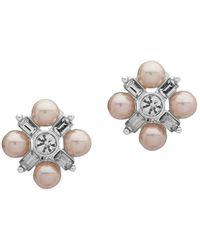 Ak Anne Klein - Silvertone And Faux Pearl Cluster Stud Earrings - Lyst