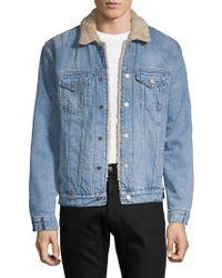 Lucky Brand - Faux-shearling Denim Jacket - Lyst