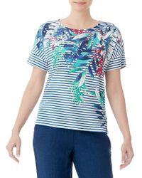 Olsen Striped Tropical Print Tee - Blue