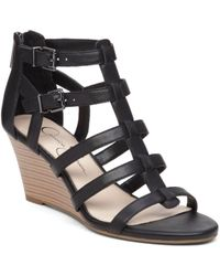 Jessica Simpson - Shalon Leather Wedge Sandals - Lyst
