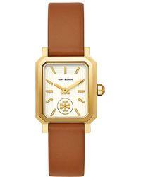 Tory Burch - Robinson Goldtone & Luggage Leather Strap Watch - Lyst