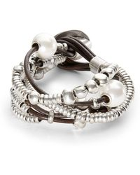 Uno De 50 - Pearl And Bead Layered Bracelet - Lyst