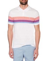 Original Penguin - Engineered Stripe Cotton Polo - Lyst