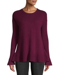 Lord & Taylor - Ruffle-trimmed Cashmere Sweater - Lyst