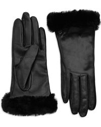 UGG - Classic Shearling-trimmed Leather Smart Gloves - Lyst