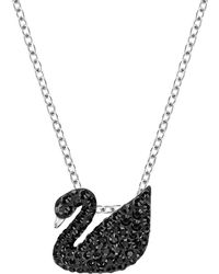 Swarovski - Black Swan Crystal Pendant Necklace - Lyst
