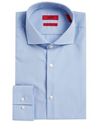 HUGO - Mabel Slim-fit Point-collar Herringbone Dress Shirt - Lyst