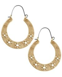 Lucky Brand Floral Tribes Goldtone Floral-engraved Hoop Earrings