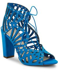 Jessica Simpson - Emagine Leather Ghillie Lace Cage Sandals - Lyst