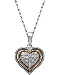 Lord + Taylor - Sterling Silver And 14kt. Rose Gold Diamond Heart Pendant Necklace - Lyst