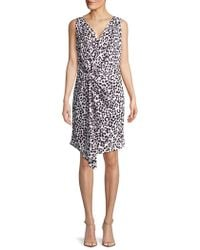 Ellen Tracy - Petite Leopard Printed Twisted Front Dress - Lyst