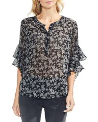 Vince Camuto - Menswear Charm Printed Flutter Sleeve Top - Lyst