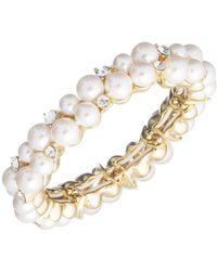 Anne Klein - 7-9mm Imitation Pearl And Crystal Cuff Bracelet - Lyst