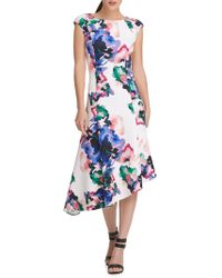 Donna Karan - Floral Asymmetric Fit-&-flare Dress - Lyst